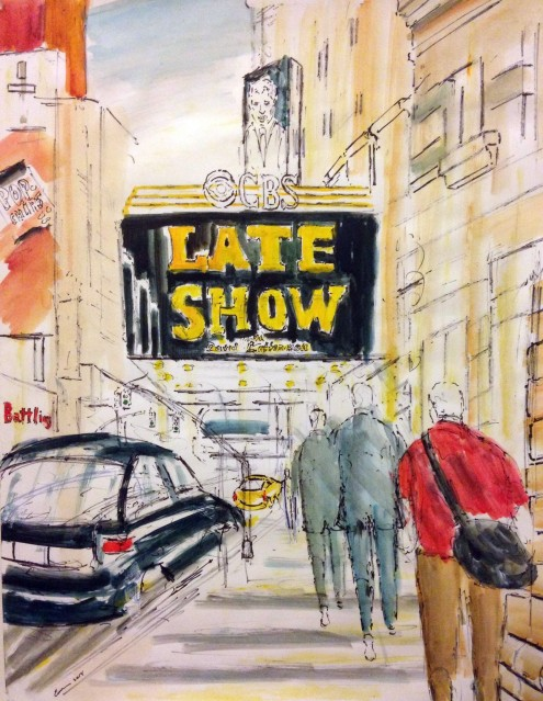 """The Late Show"" by Enrico Miguel Thomas, Watercolor 22X28, 2014"