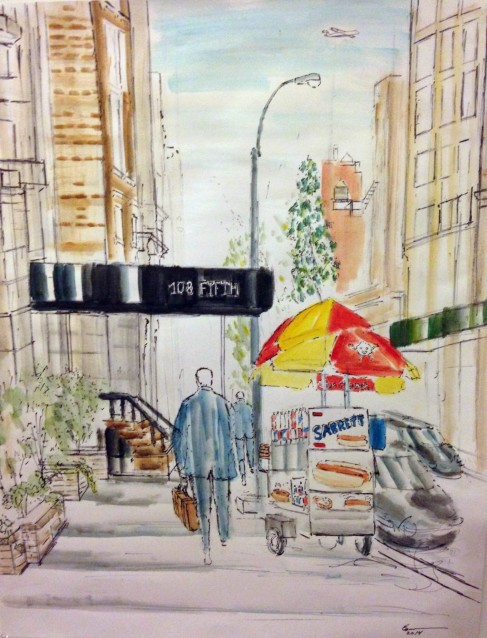 Fifth Avenue by Enrico Miguel Thomas, watercolor on paper 2014